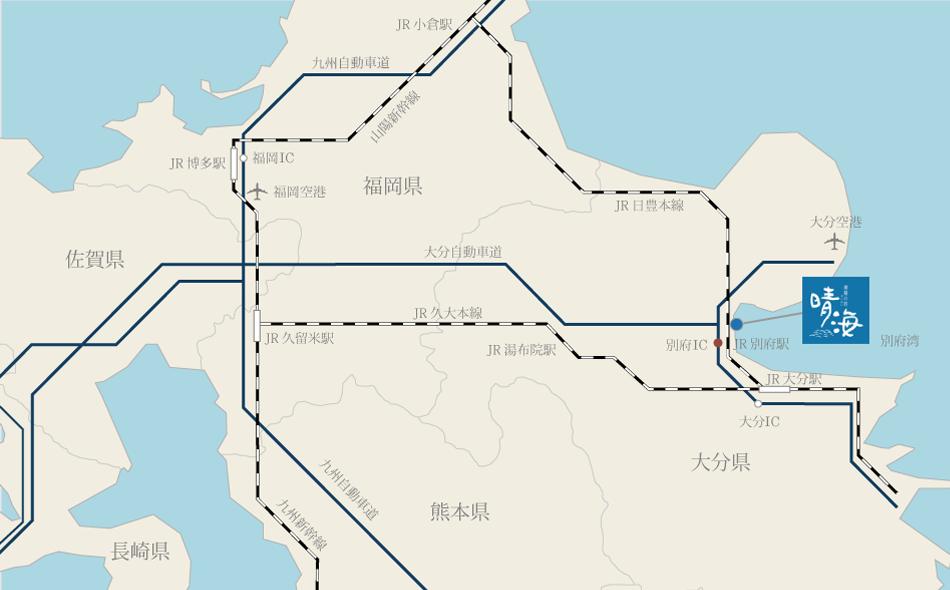 潮騒の宿 晴海までのアクセスマップ(広域)